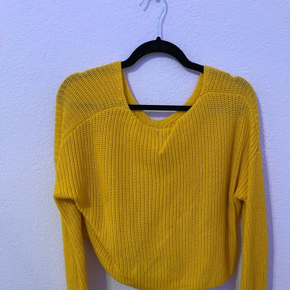 yellow cropped knitted sweater